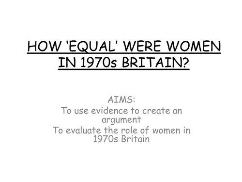 AQA A level modern Britain, Race and immigration and women in the 1970s