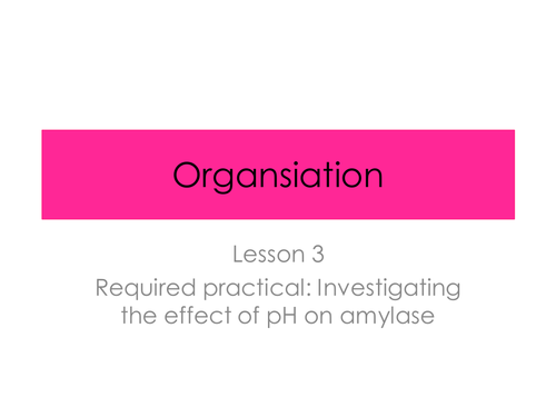 Enzyme Required Practical - Organisation (New GCSE AQA Spec)