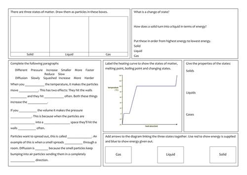 KS3 States of matter revision mat