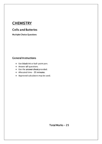 Chemistry MCQ cells and batteries