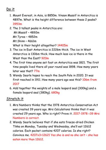 Y4/Y5 Word Problems based on Antarctica