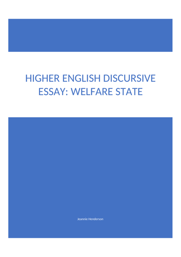 A Grade Higher English Folio Discursive Essay On Benefits  Welfare  A Grade Higher English Folio Discursive Essay On Benefits  Welfare State  By Biggles  Teaching Resources  Tes Science And Technology Essays also English Essay My Best Friend  English Essay Example