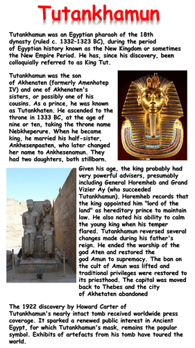 Tutankhamun Mini Biography