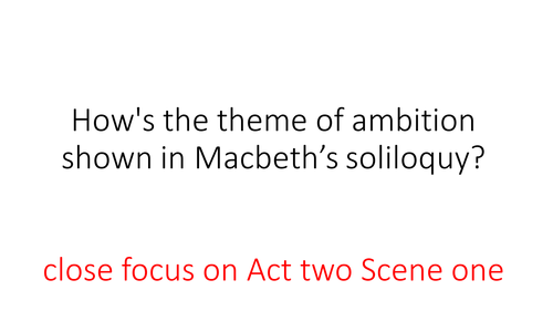 """Free Presentation on an extract from """"Macbeth"""". Act Two Scene One"""