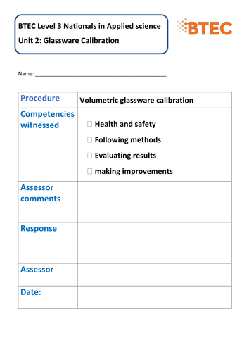 (NEW) BTEC L3 Nationals in applied science unit 2: learning aim A - Lesson 2 - glassware calibration