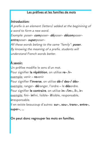 French- Prefixes and Families of words