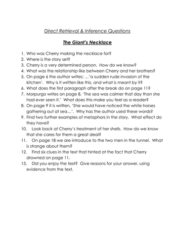 The Giant's Necklace Comprehension Questions Year 5/6