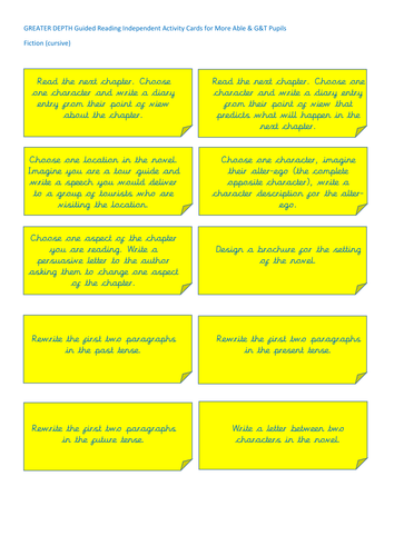 Year 4/5/6 Greater Depth Independent Reading Cards