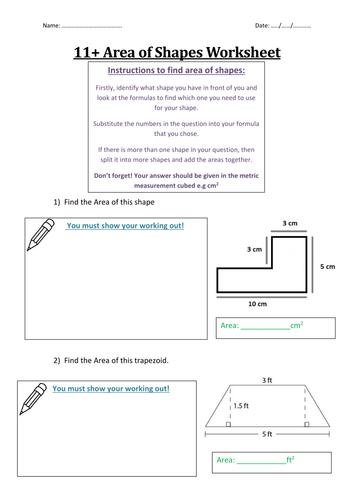 11+ Area of Shapes Worksheet