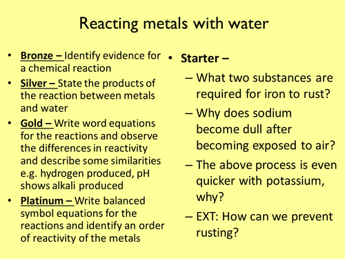 Metals with water