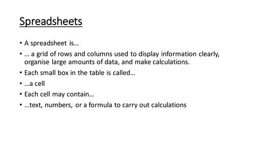 Spreadsheets Fact Sheet
