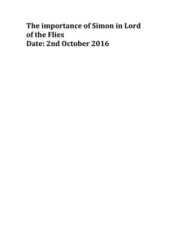 GCSE 9-1 English Literature Lord of the Flies Exemplar Simon Grade 9 essay
