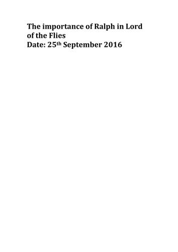 GCSE 9-1 English Literature Lord of the Flies Grade 9. Exemplar essay Ralph
