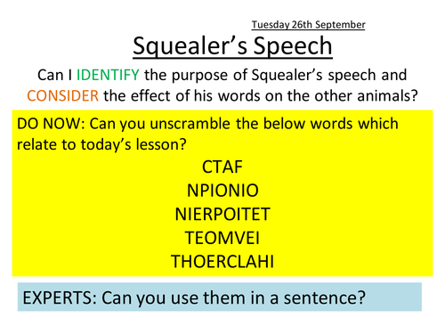 Analysis of Squealer's first speech in Animal Farm