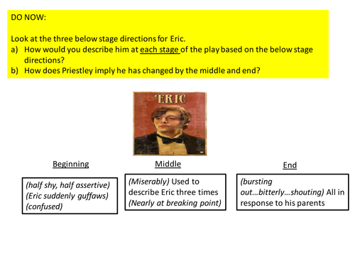 Analysing the changing character of Eric in An Inspector Calls