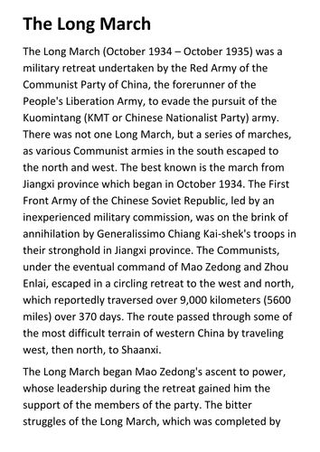 The Long March Handout