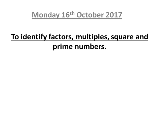 Mastery lesson: Factors, Squared and Prime numbers