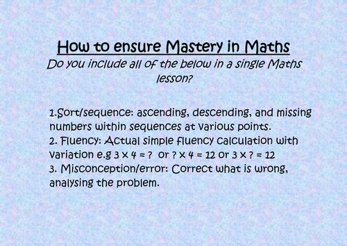 How to ensure Mastery in Maths