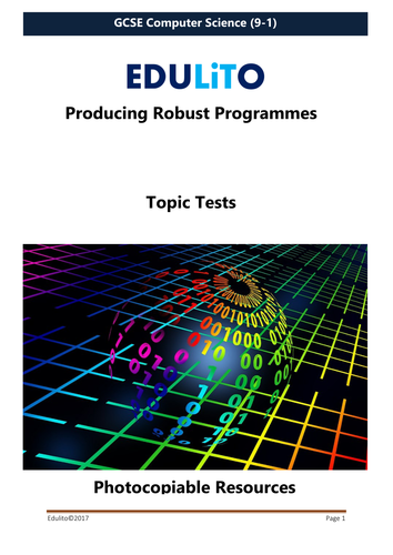 Producing Robust Programmes Test - GCSE Computer Science