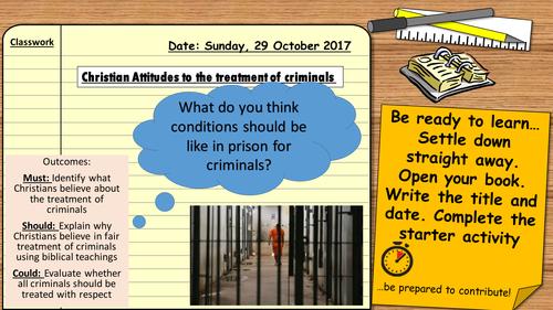 AQA 9-1 Religious Studies: Crime and Punishment. Christian attitudes to the treatment of criminals