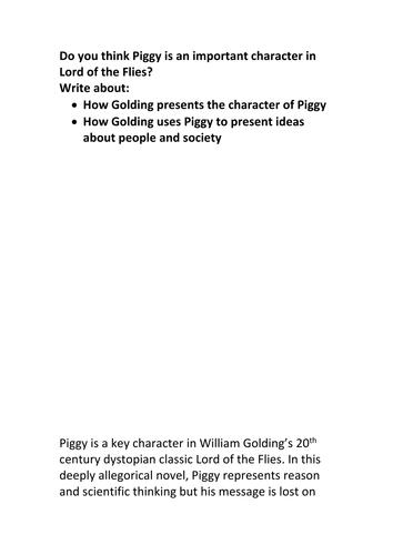 GCSE 9-1 English Literature Lord of the Flies Exemplar Grade 9 essay Piggy