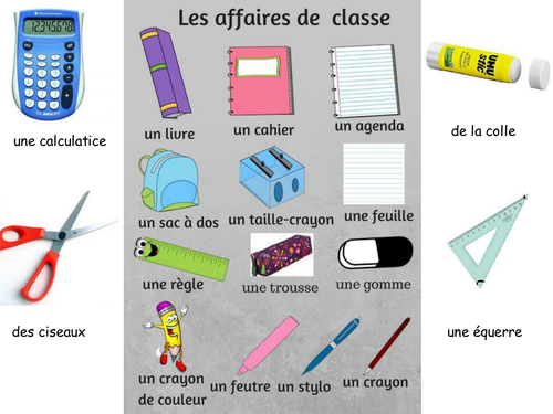 Things in your bag/classroom, dans ma trousse/cartable poster