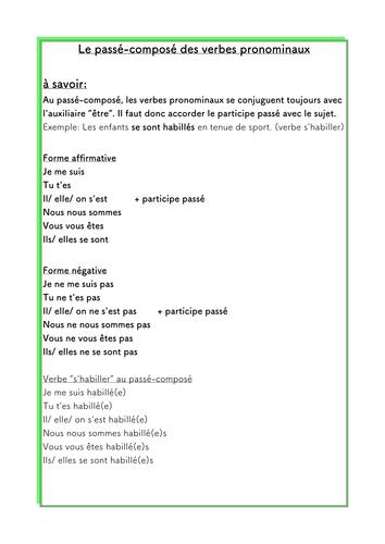 French Liste Verbes Pronominaux Et Passe Compose Teaching Resources