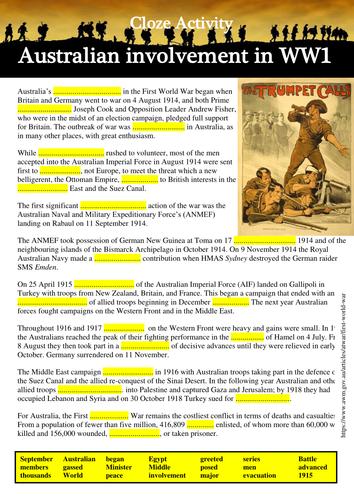 4 Cloze Activities: Australian Involvement in World War 1