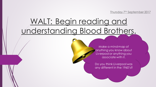 Blood Brothers Educas (Full Scheme of work -23 lessons)
