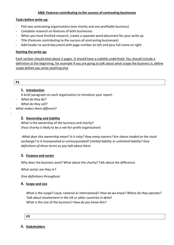 BTEC Level 3 Business Unit 1 A&B guidance and writing frame