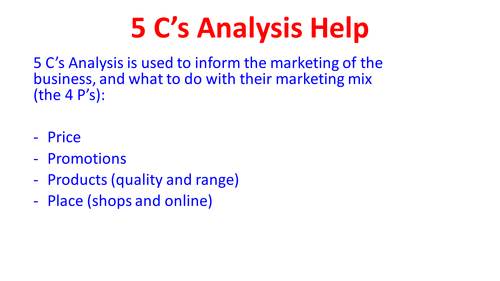 BTEC Business Level 3 Unit 1 C&D guidance and writing frame
