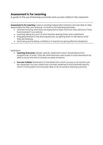 Learning Outcomes and Success Criteria - a guide
