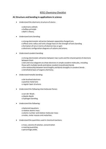 Pearson BTEC New specification-Applied science-Chemistry-revisionchecklist