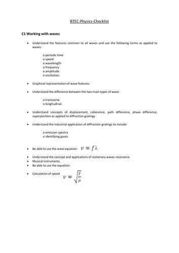 Pearson BTEC New specification-Applied science-Physics-revisionchecklist