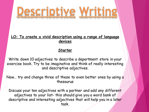 Descriptive writing - describe a department store - AQA Language paper 1 prep