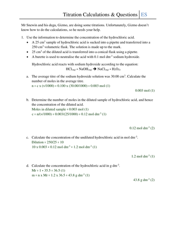 Titration Calculations and Questions Worksheet by CSnewin - Teaching ...