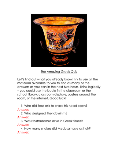 The Amazing Ancient Greek Quiz - an ideal start or end point for an exciting topic on Ancient Greece