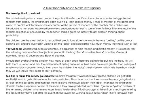 Probability maths Investigation - great fun!