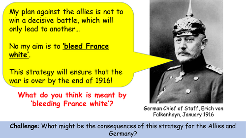 AQA Verdun: How did Falkenhayn try to 'bleed France white'?