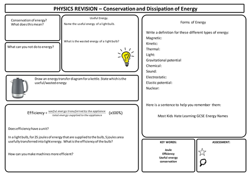 AQA Trilogy Physics Revision Sheets