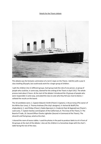 The Great Titanic Debate - Who really was to blame?
