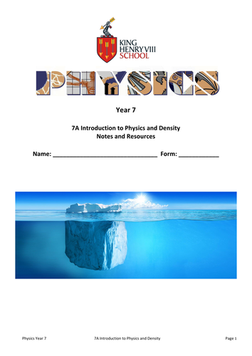 KS3 Physics: Density Student's Notes and Resources