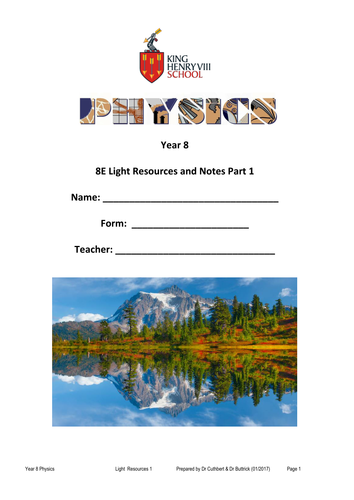 KS3 Physics: Light Student's Notes and Resources