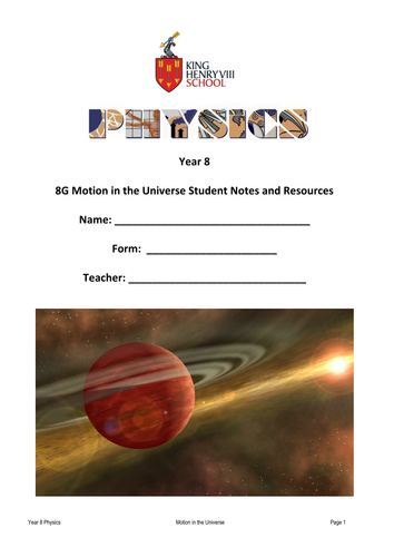KS3 Physics: Astronomy Student's Notes and Resources