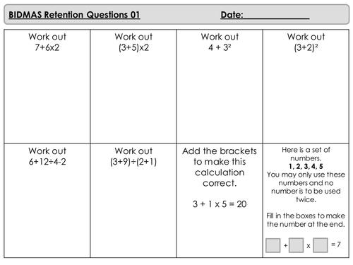 Mastery Maths - Retention Questions - BIDMAS - Orders of Opertations