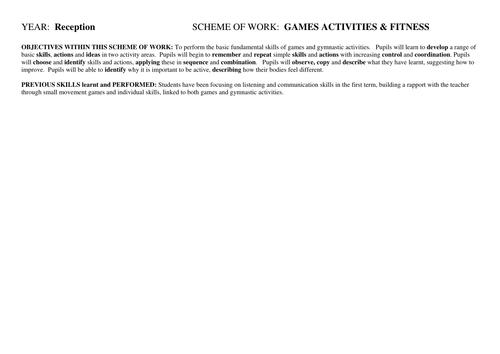 Reception Scheme of Work PE 1