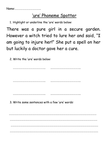 Ure Phoneme Spotter By Megaalex66 Teaching Resources