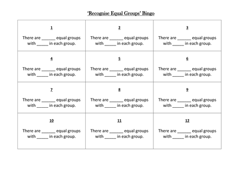 Recognise Equal Groups Bingo(Multiplication/Division)Block 4