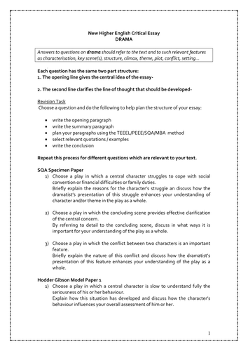 new higher critical essay questions by katcustard  teaching  new higher critical essay questions by katcustard  teaching resources  tes