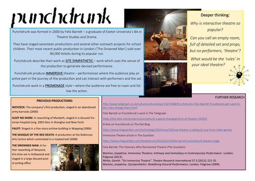 KS5: Drama: Punchdrunk Further Thoughts Sheet